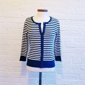 Navy striped cardigan sweater